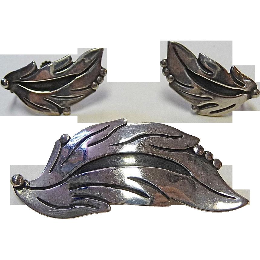 Maricela Mexican Sterling Pin & Earrings Leaf Set