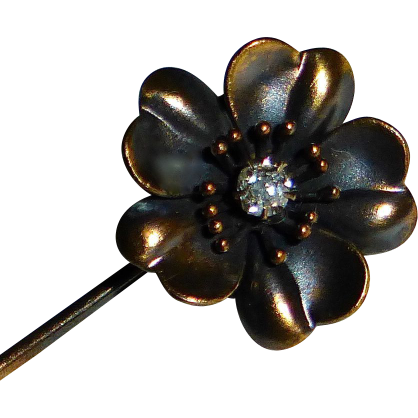 Antique 15k Art Nouveau Mine Cut Diamond Poppy Stick Pin