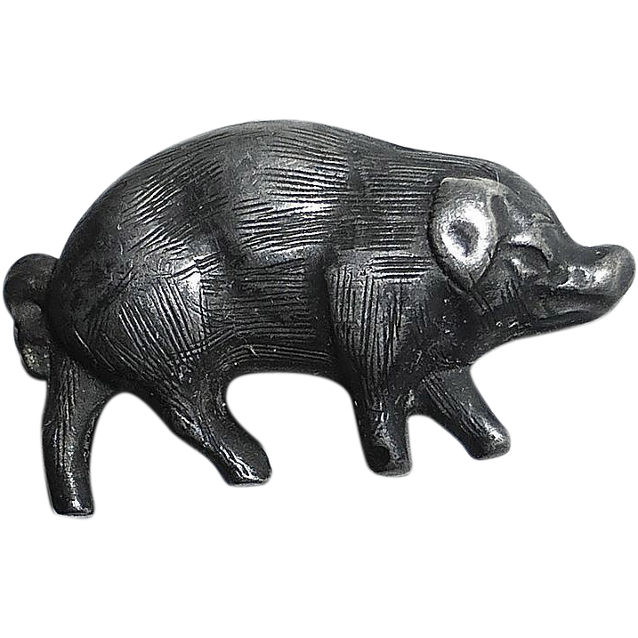 Charming Sterling 3D Pig Stick Pin
