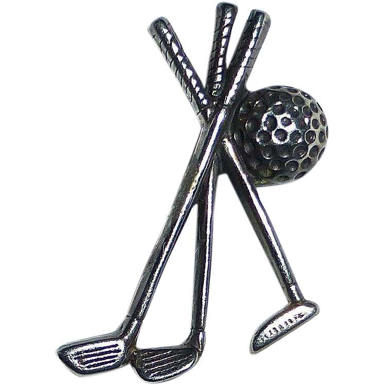 Sterling Gold Clubs & Ball Tie Tack