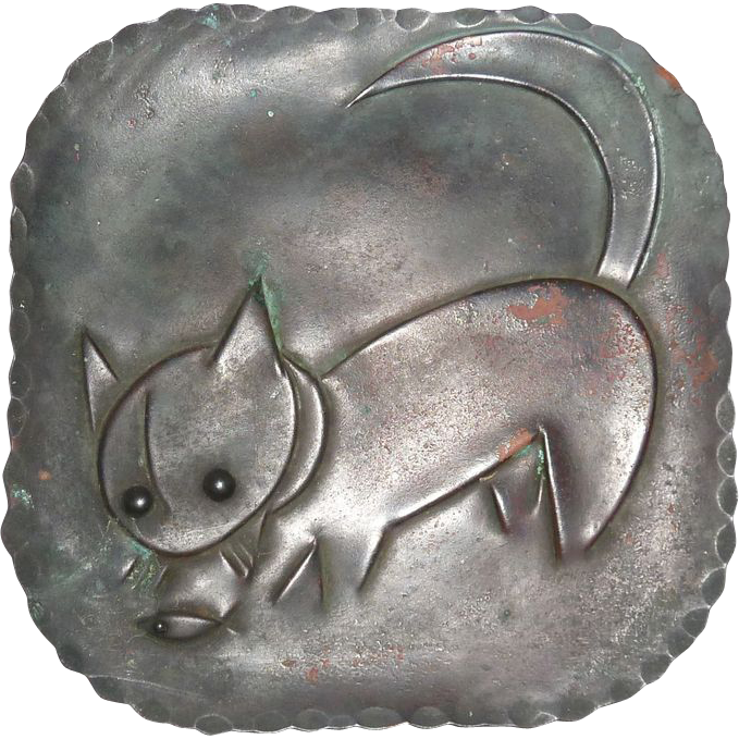 Art Deco Handcrafted Copper Tray Cat & Fish