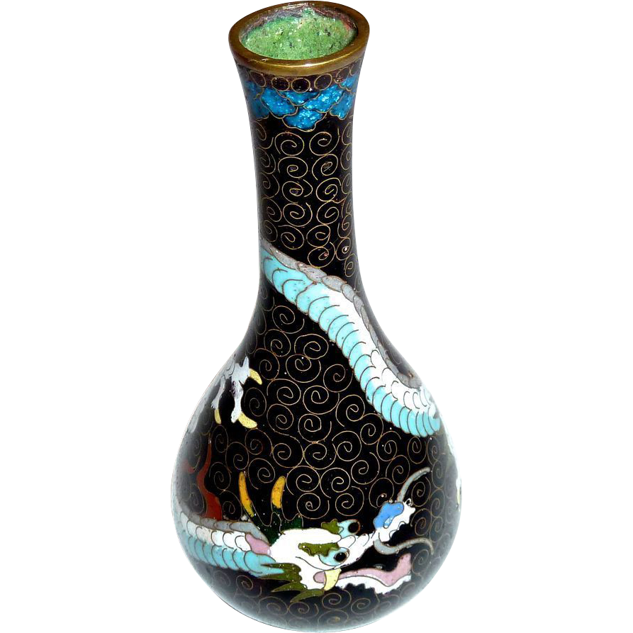 Japanese Small Meiji Cloisonne Enamel Vase Dragon Design