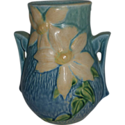 Roseville Pottery Blue Clematis Vase c1945