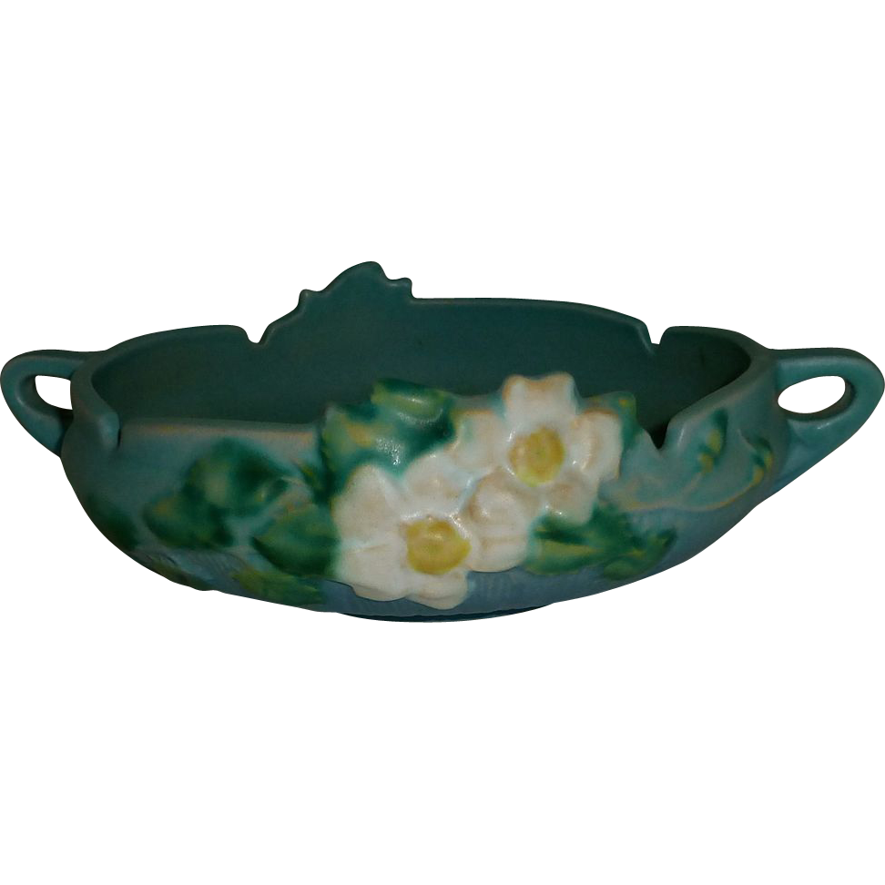 Roseville Pottery White Rose Blue Console Bowl