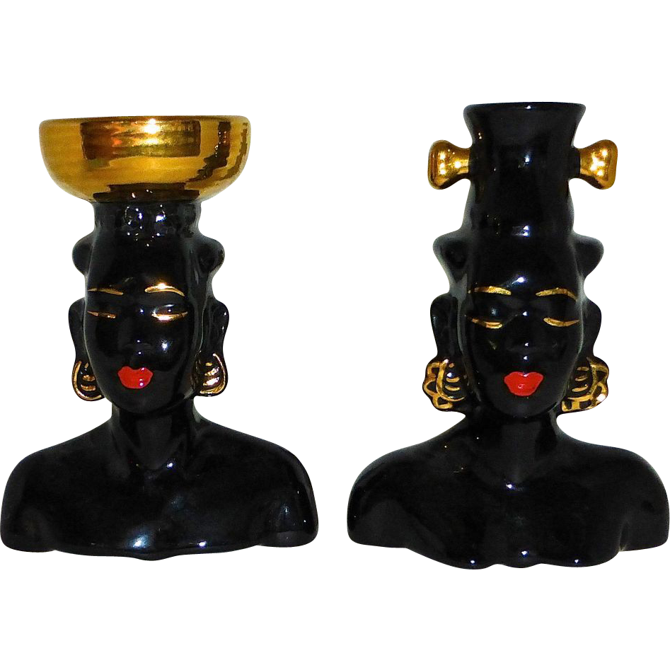 Exotic Blackamoor Pair of Head Vases ♀ ♂