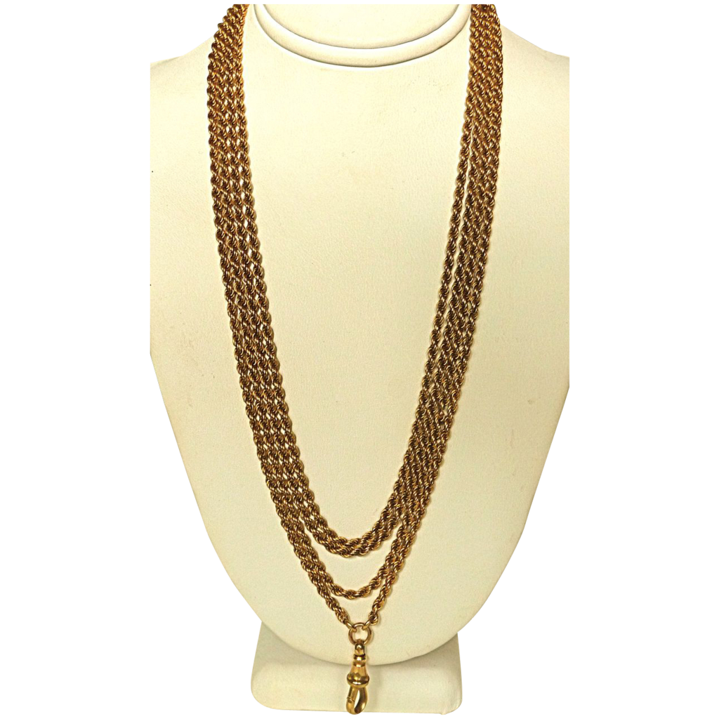 "Fabulous 14k Antique Twisted Rope 62"" Watch Chain"