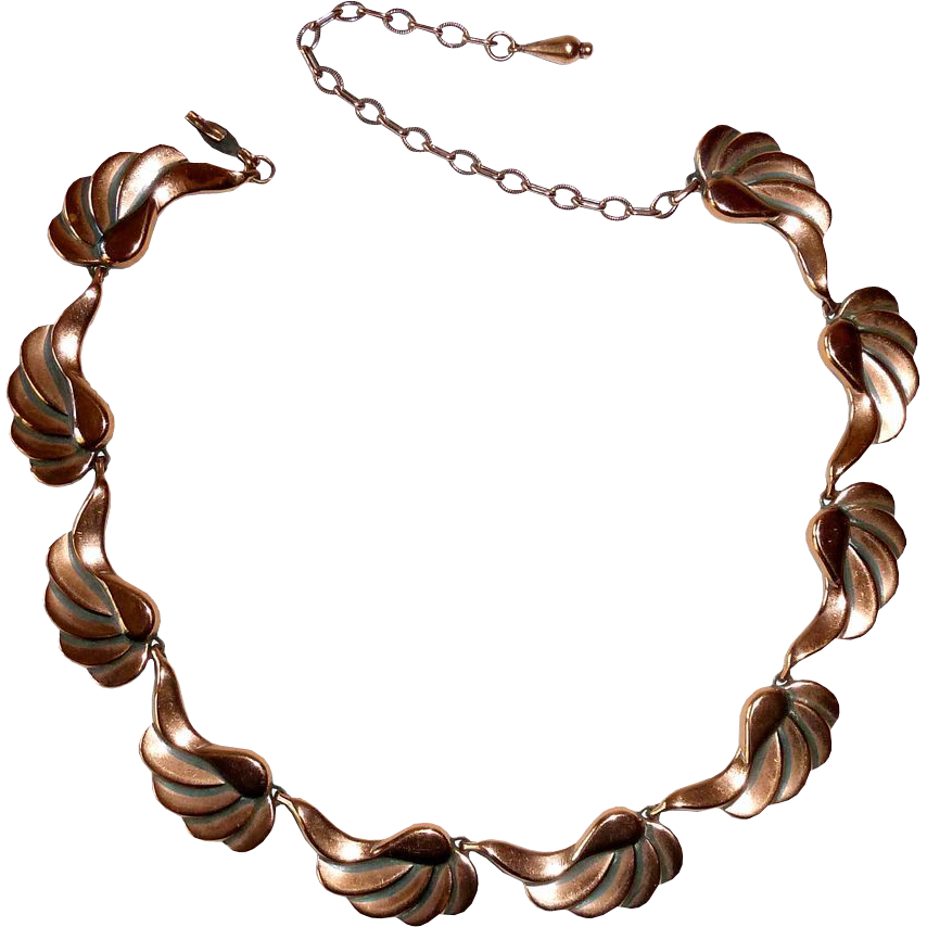 Renoir Copper Necklace Repousse Swirling Stepped Links