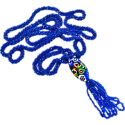 Art Deco Flapper Necklace Blue Bead Rope Lg Millefiore Bead Tassel