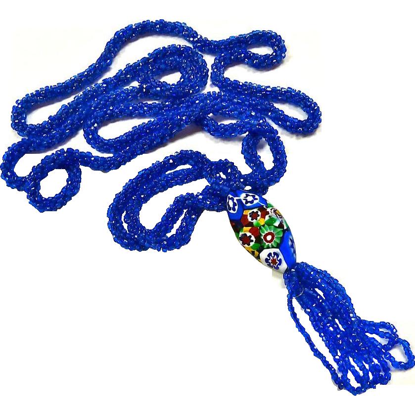 Art Deco Flapper Necklace Blue Bead Rope Lg Millefiore Bead Tassel