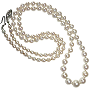 Graduated Cultured Pearl Necklace 14k Clasp c1940s