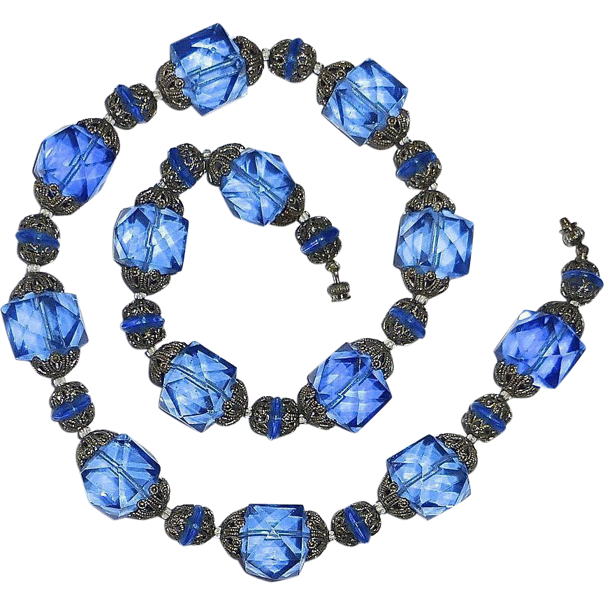 antique faceted blue glass bead necklace from