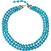 Aqua Faceted Glass Triple Strand Necklace
