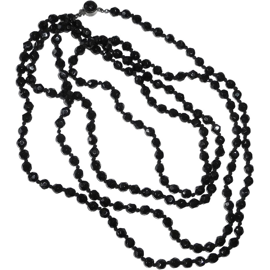 Austrian Faceted Black Glass Bead Necklace XL