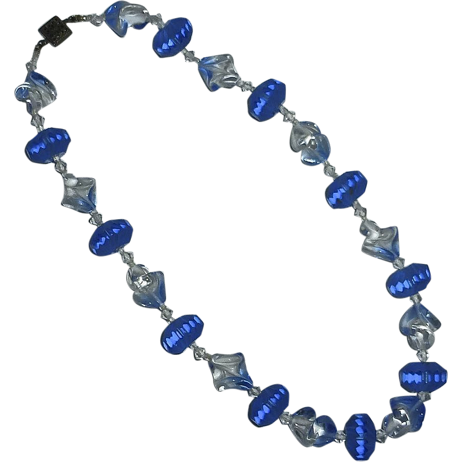 Frosted Blue Glass & Art Glass Bead Choker Necklace