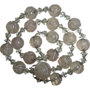 Chinese Carved Rose Quartz & Crystal Bead Necklace