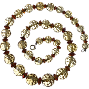Natural Citrine Graduated Bead Necklace on Chain