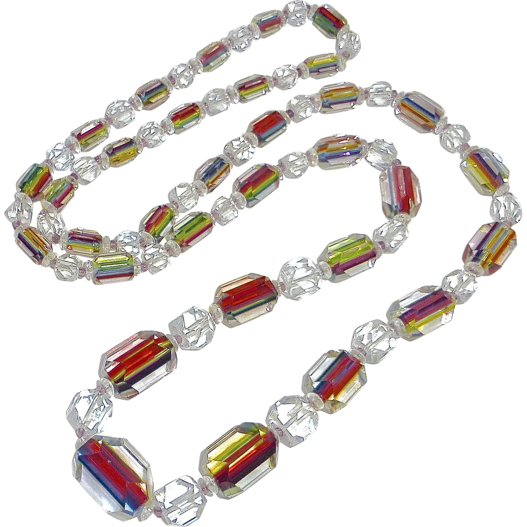 Rare Art Deco Iris Rainbow Glass Graduated Bead Necklace