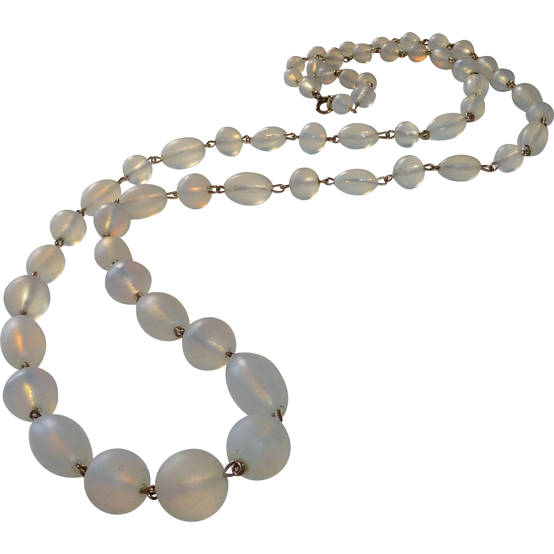 Frosted Moonstone Glass Graduated Bead GF Necklace
