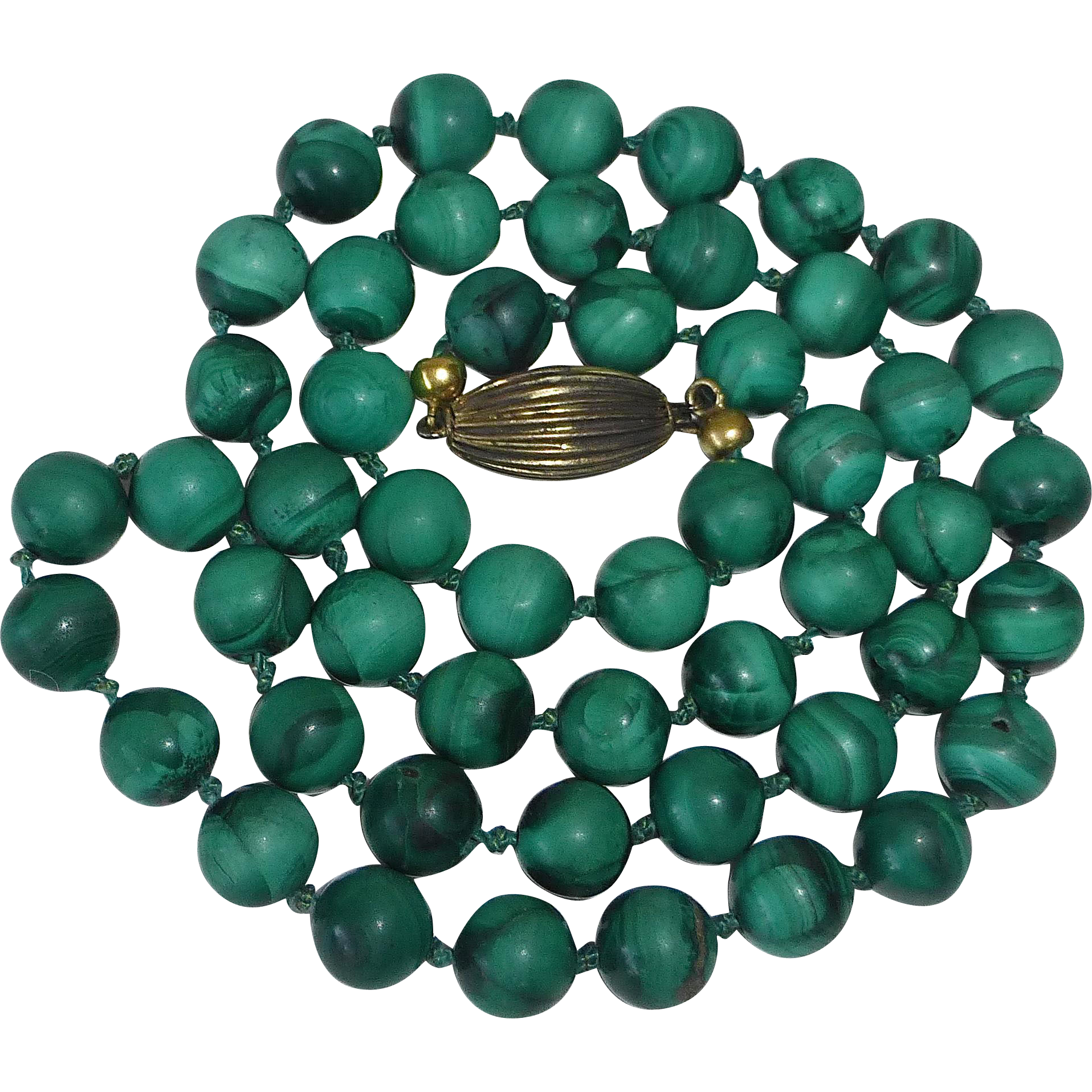 Genuine Malachite Gemstone Bead Necklace Sterling Clasp