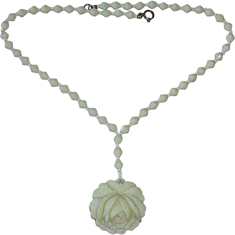 Creamy White Molded Glass Rose Drop Bead Necklace