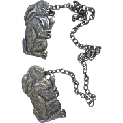 Sterling Silver Bunny Rabbit Bib Clips