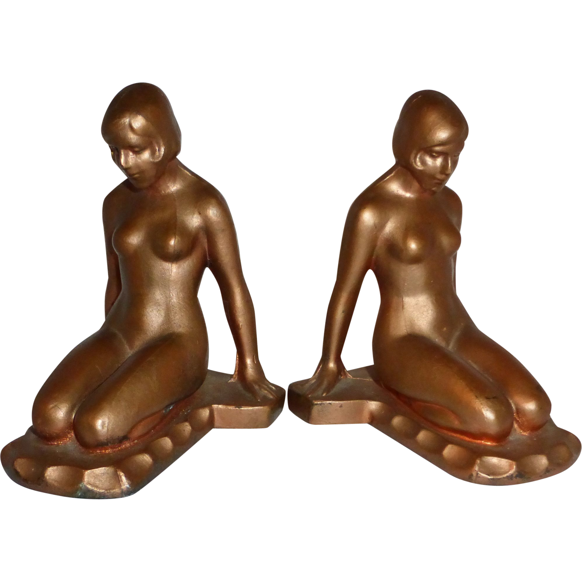 Art Deco Bronzed Spelter Nude Bookends