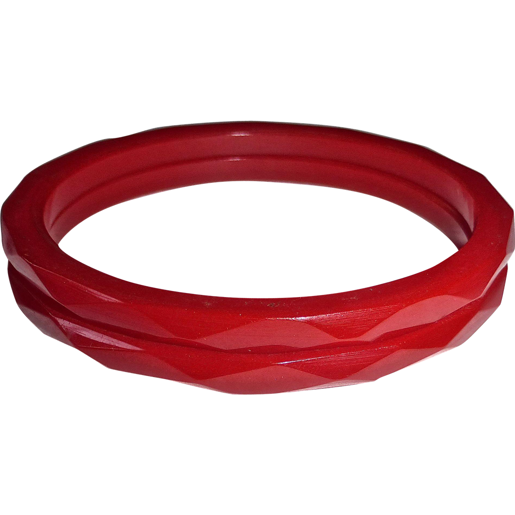 Bakelite Faceted RED Bracelet Pair