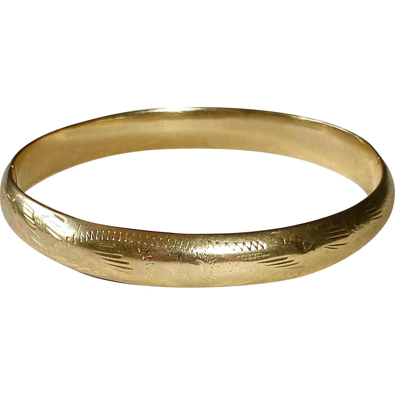 14k Engraved Hinged Bangle Bracelet