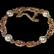 14k Bracelet Sculptural Links & Cultured Pearls