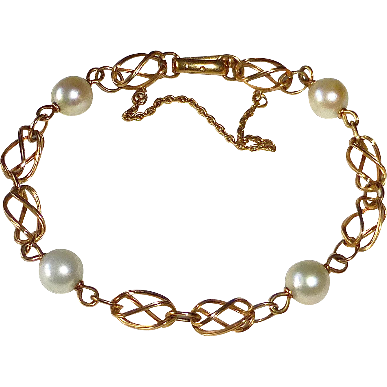 14k Bracelet Sculptural Links & Cultured Pearls