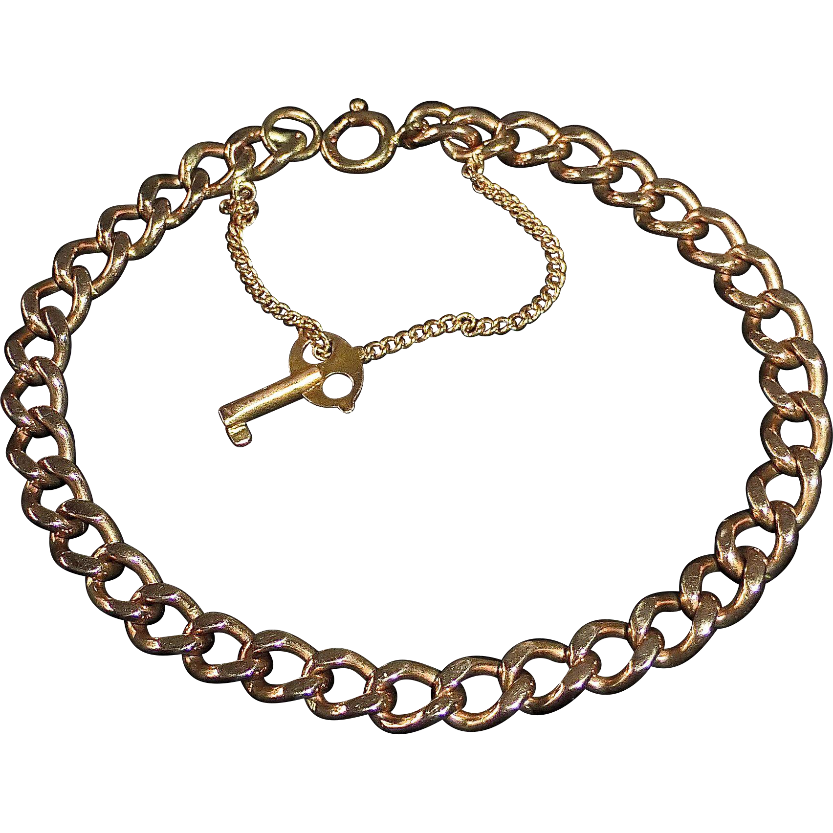 14k Rose Gold Heavy Curb Chain Bracelet w Key Charm