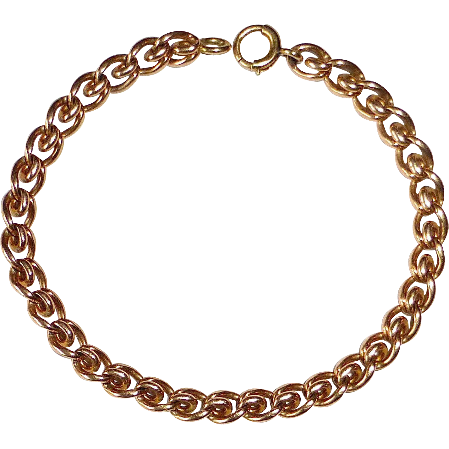 14k Rose Gold Heavy Curled Link Chain Bracelet
