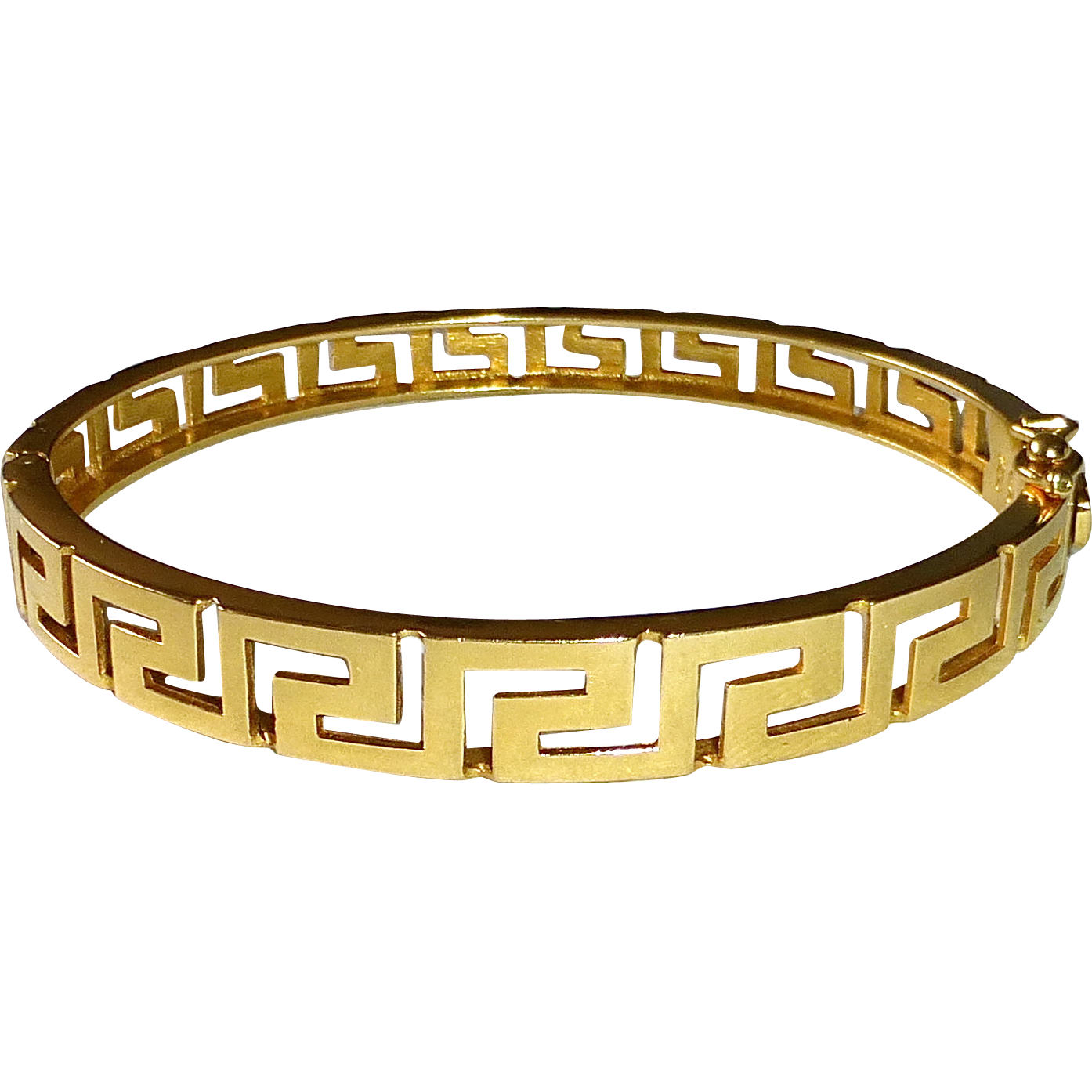 18k Yellow Gold Greek Key Design Hinged Bracelet Bejewelled Ruby Lane