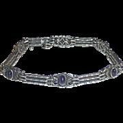 900 Silver Link Bracelet w Amethyst cabs