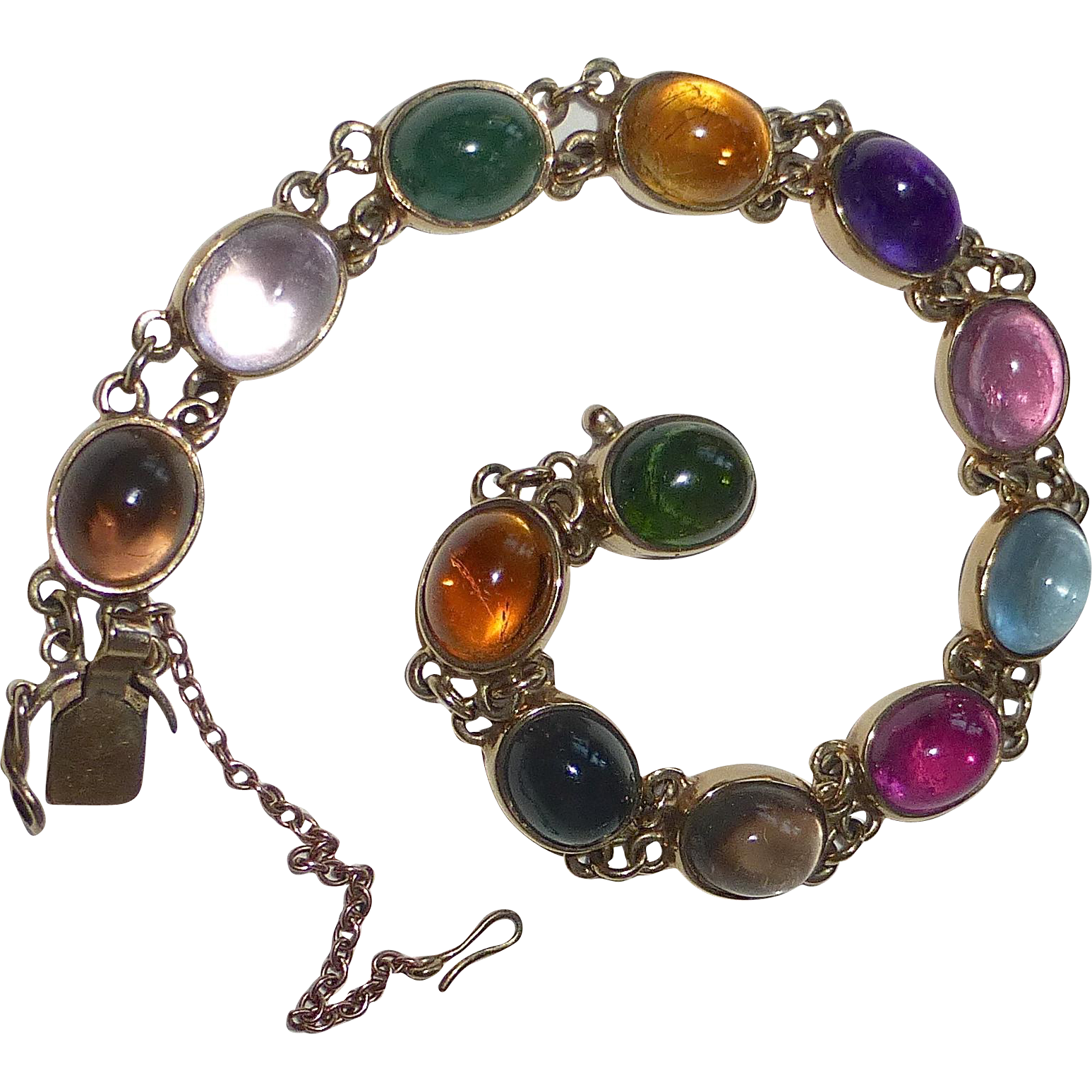 Gemstone Cabochon Bracelet 9kt Yellow Gold