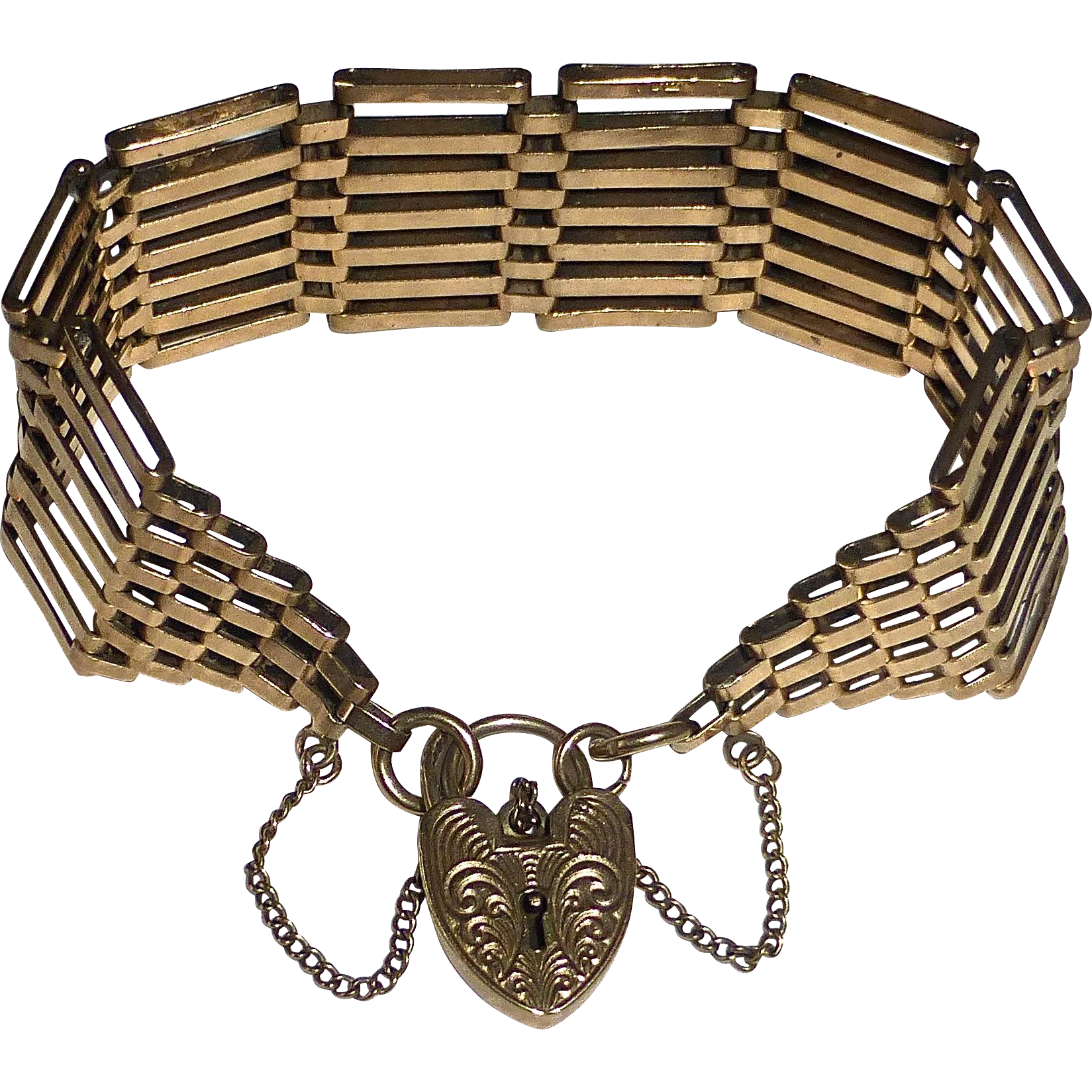 English 9k Wide Link Bracelet Padlock Clasp