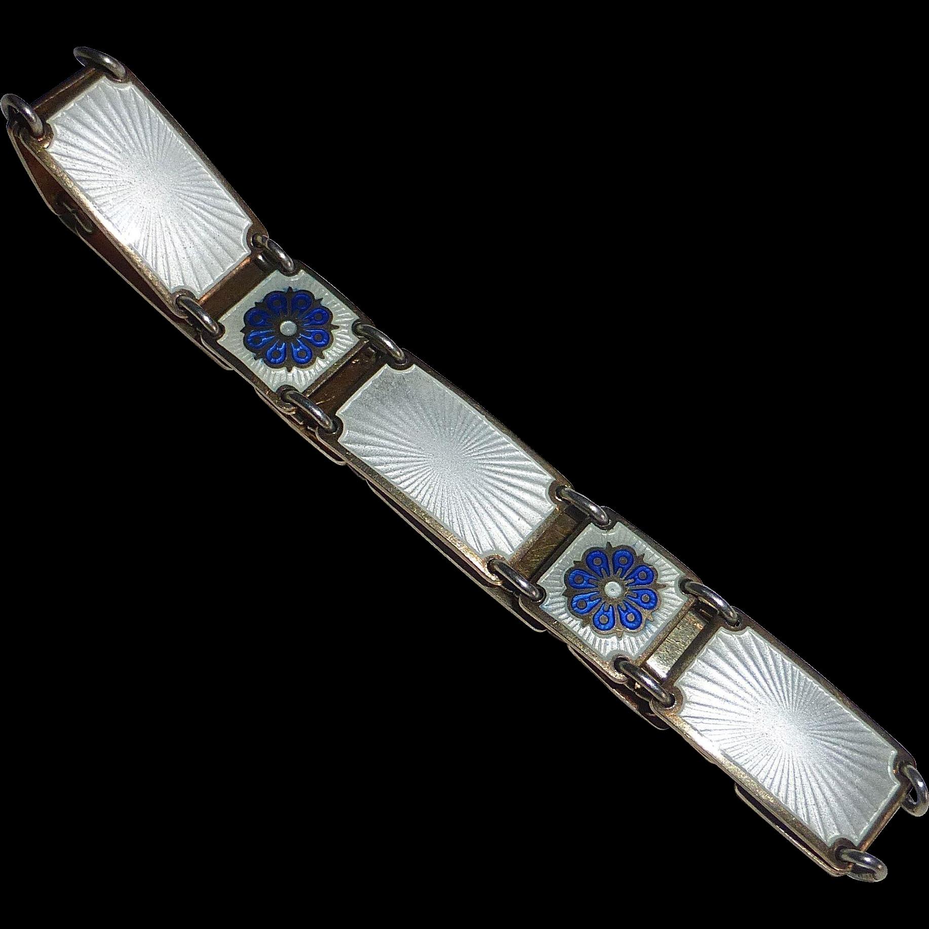 David Andersen Sterling & Enamel Link Bracelet