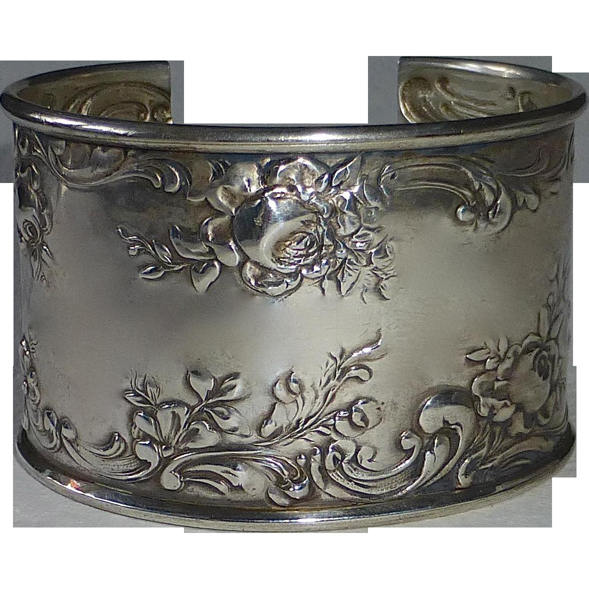 Gorham Sterling Wide Floral Cuff Bracelet