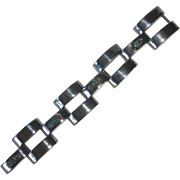 Mexican Sterling Industrial Hinged Link Bracelet