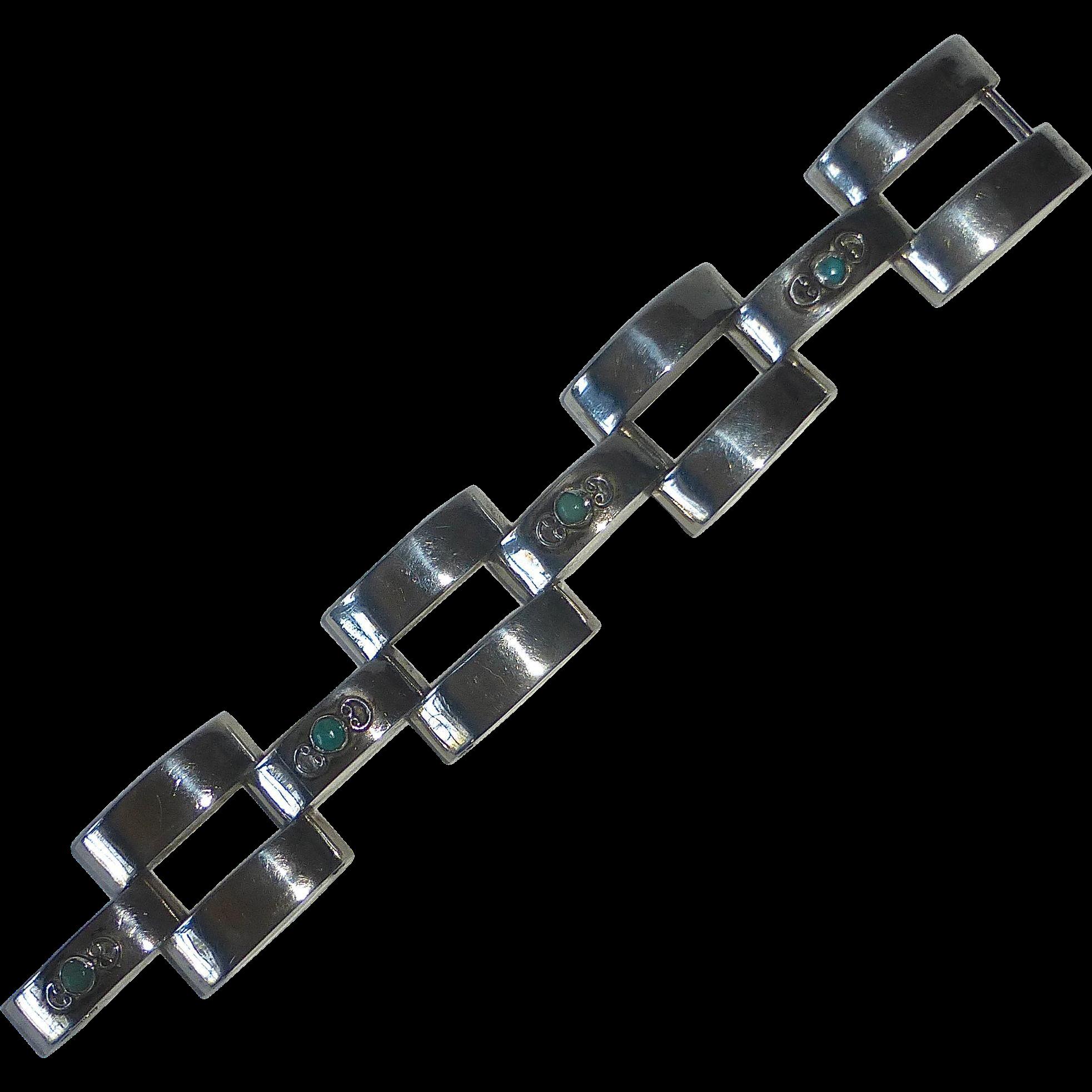 Mexican Sterling Industrial Hinged Link Bracelet