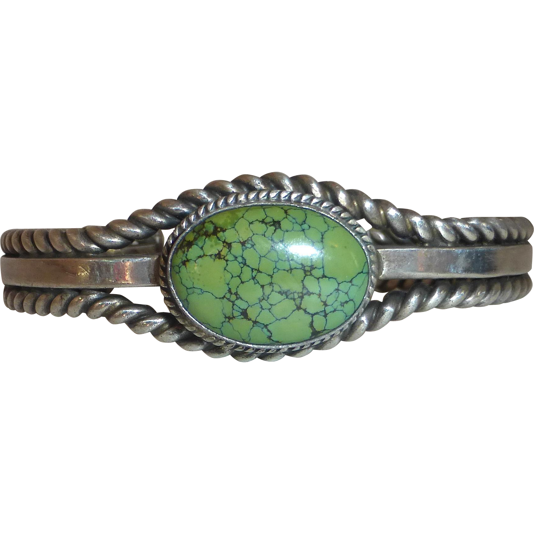 Native American Signed Navajo Sterling Cuff Bracelet Royston Green Turquoise