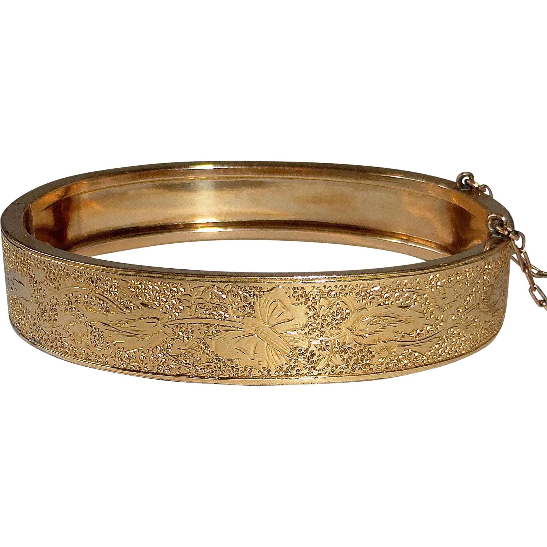 Victorian Gold Filled Engraved Hinged Bangle Butterfly