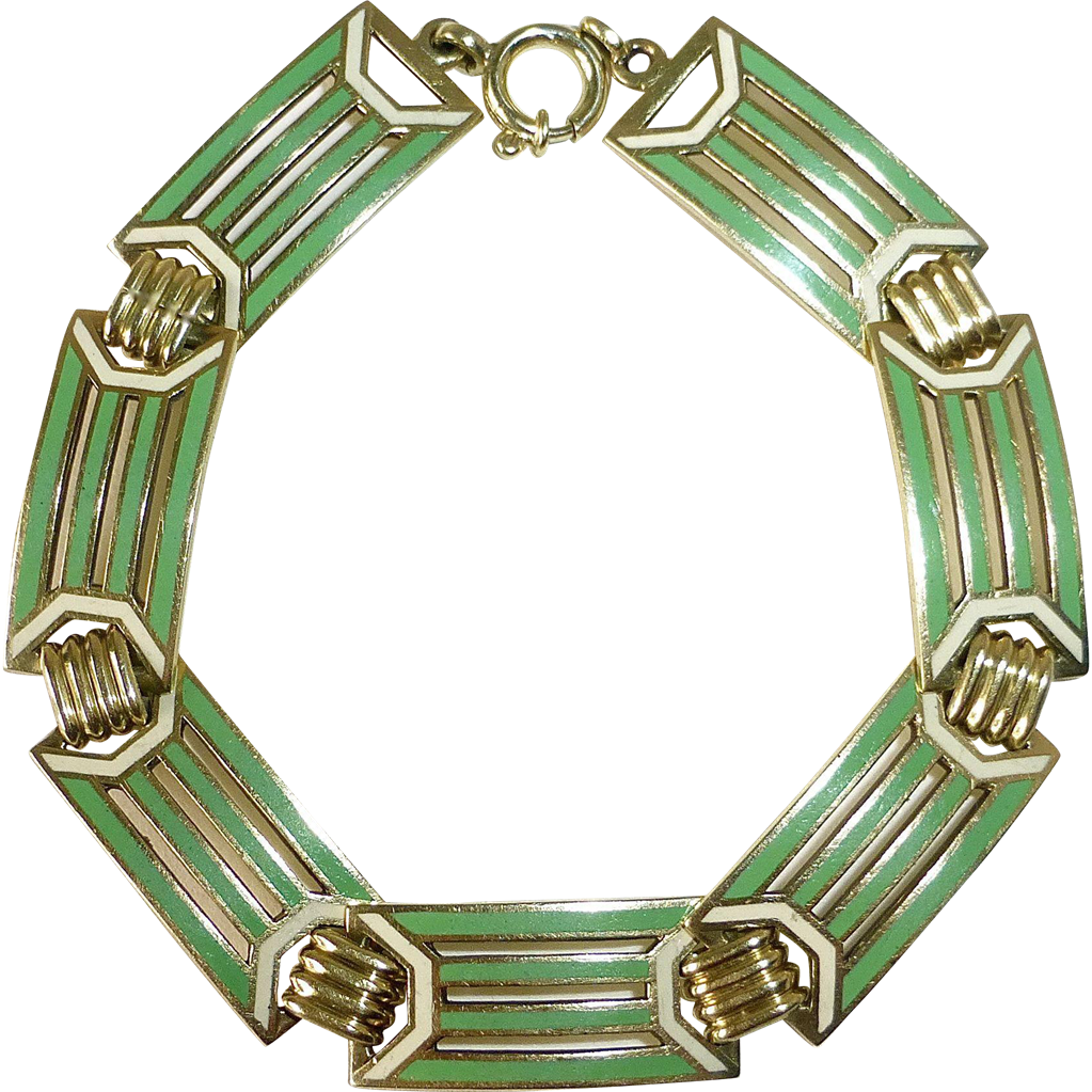 Art Deco 14K & Enamel Bracelet Wordley, Allsopp & Bliss c1920s