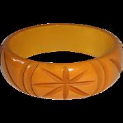 Butterscotch Bakelite Carved Stars Bangle Bracelet