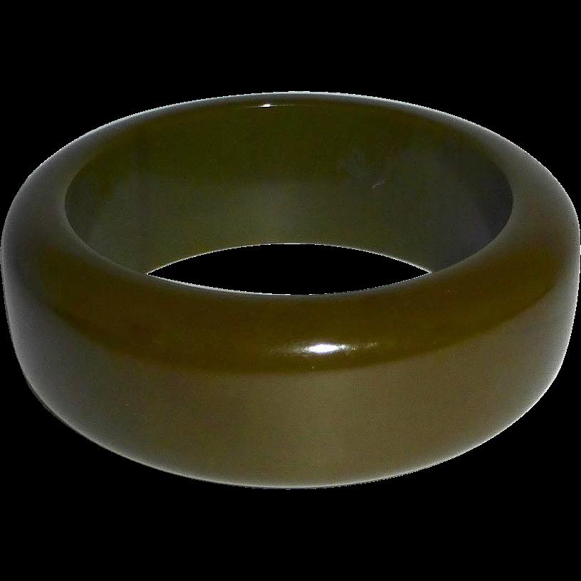 Chunky Olive Bakelite Bangle Bracelet