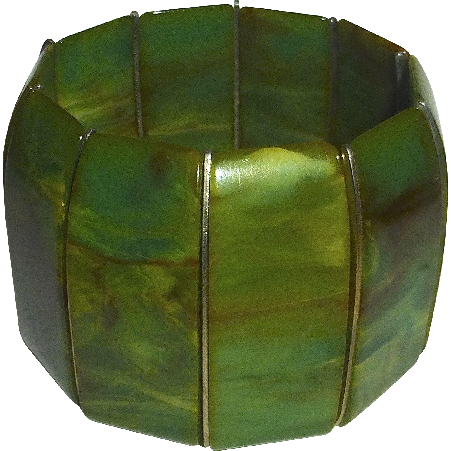 End-of-Day Green Swirl Bakelite X Wide Stretch Bracelet
