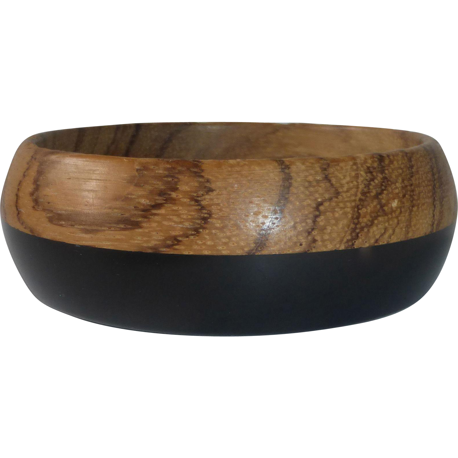 Bakelite & Wood Laminated Wide Bangle Bracelet