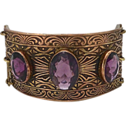 Art Deco Bronze Bracelet Three Amethyst Glass Jewels