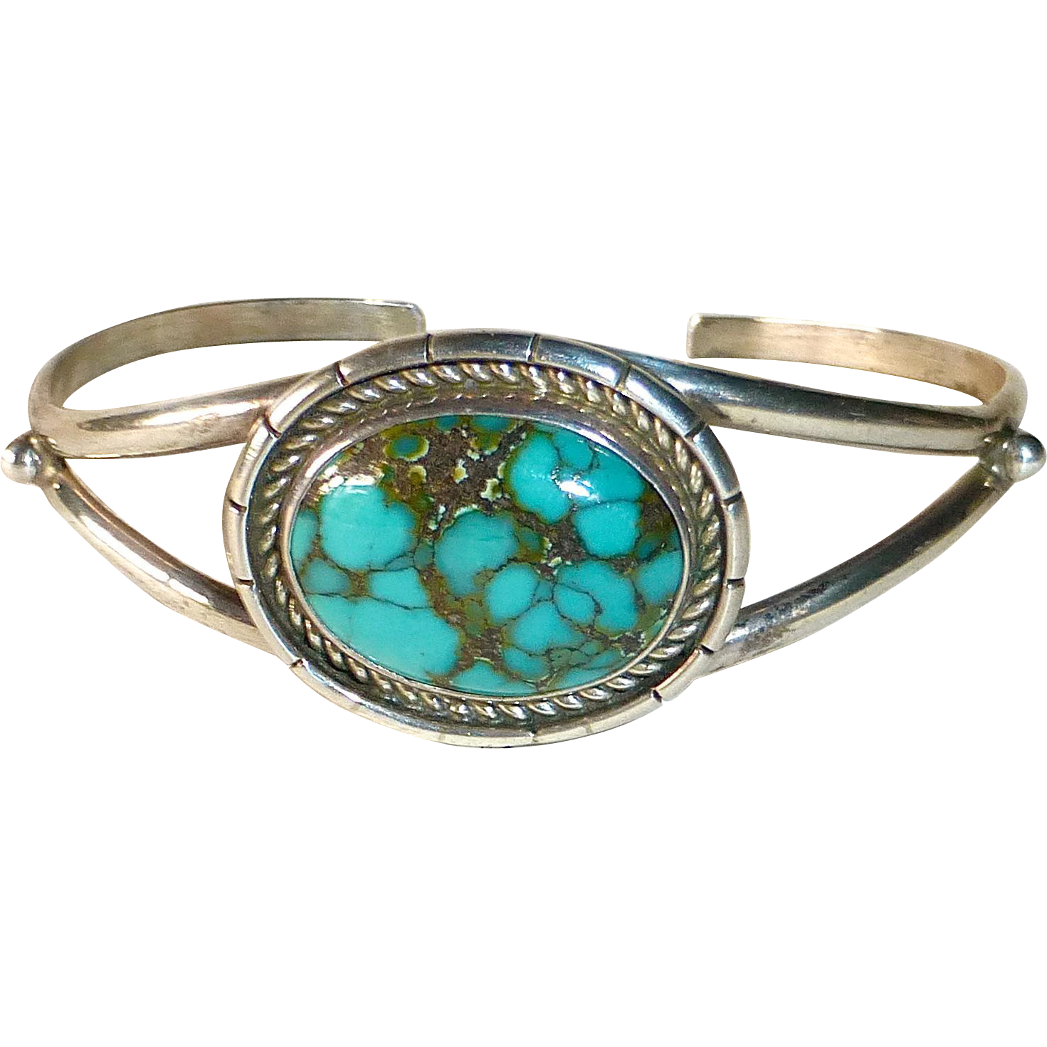 Native American Signed Sterling & Turquoise Cuff Bracelet