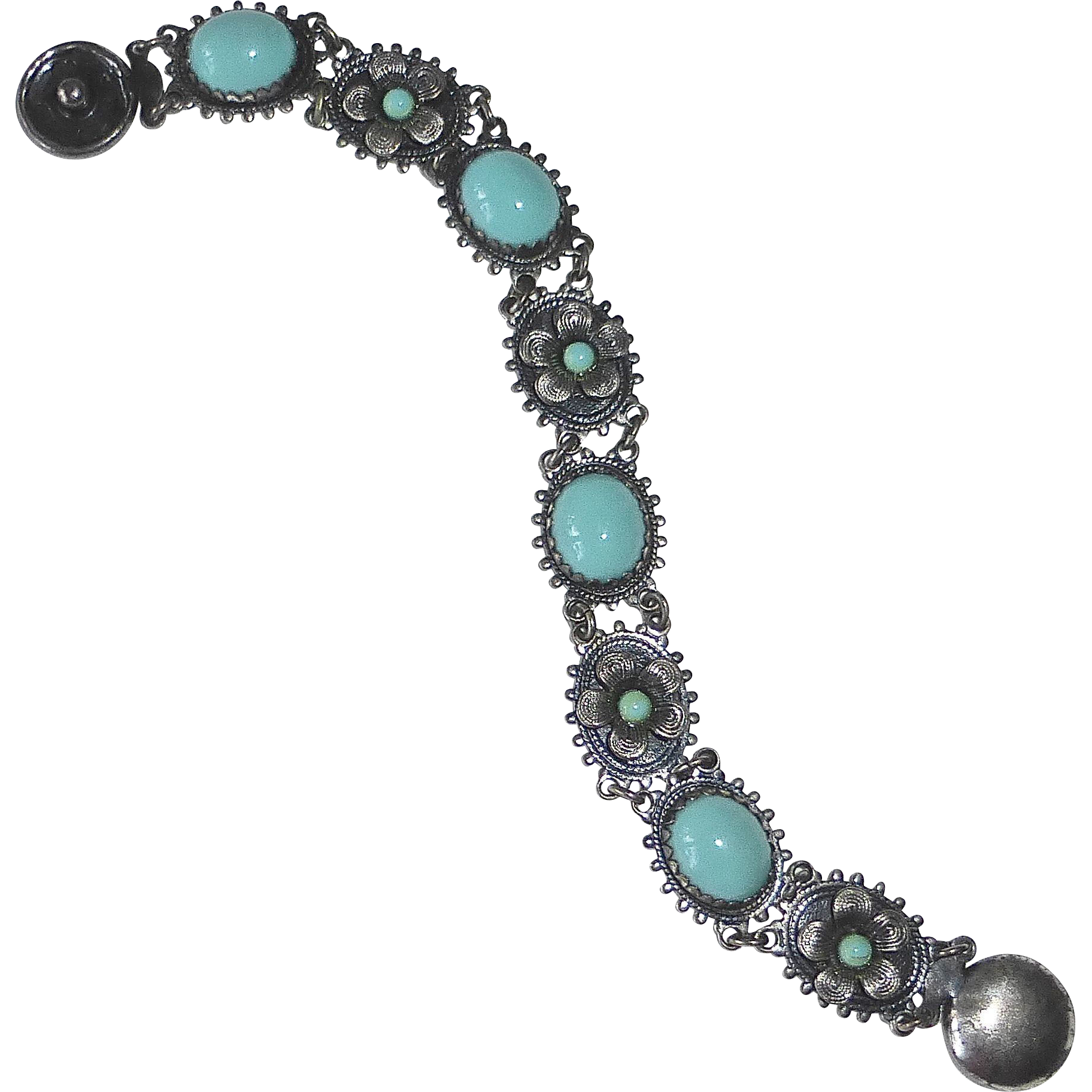 Silver Metal Faux Turquoise Costume Bracelet